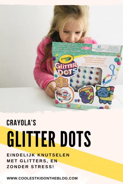 Glitter Dots van Crayola. Review over deze set waarmee je kunt knutselen met glitters zonder stress!